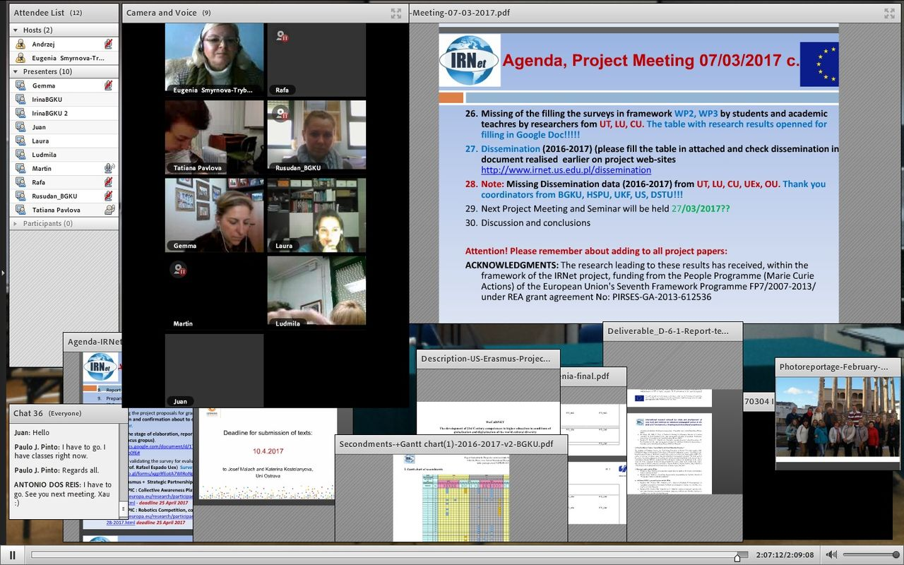 IRNet Project Meeting And Videconference